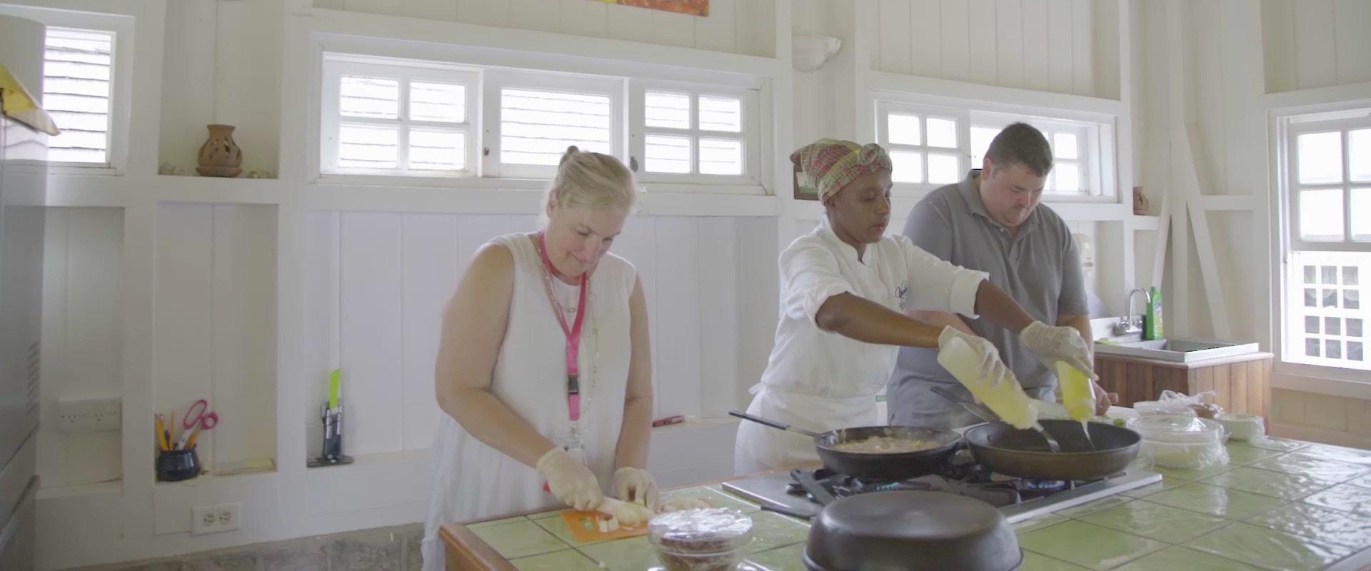 Group enjoying Cooking Tour in St. Kitts