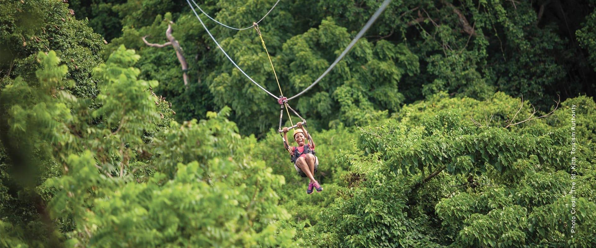 Ziplining in St. Kitts Rainforest